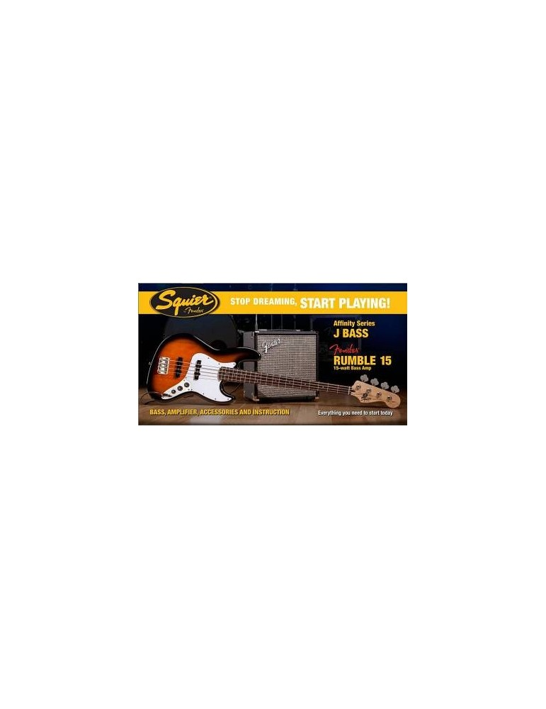 SQUIER BY FENDER AFFINITY JAZZ BASS PACK CON RUMBLE 15 WATT BROWN SUNBURST