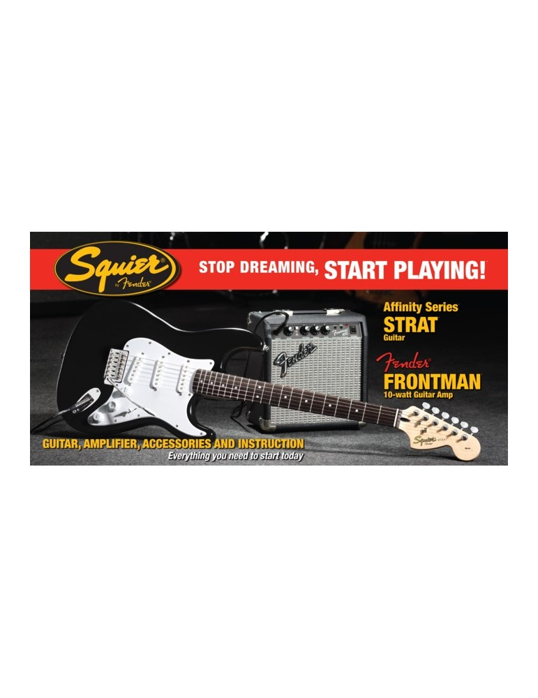 SQUIER PACK CHITARRA ELETTRICA STRATOCASTER AFFINITY BLACK + AMPLIFICATORE 10G